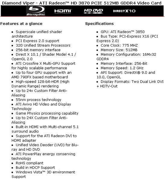 ATi Radeon HD 3850 ve HD 3870'in detayları ortaya çıktı