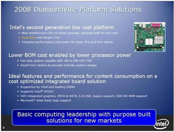 Intel'in maliyet odaklı sistem platformu; Diamondville