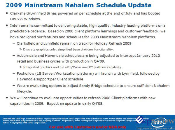 Intel'in entegre grafik birimine Havendale serisi işlemcileri 2010'a kaldı