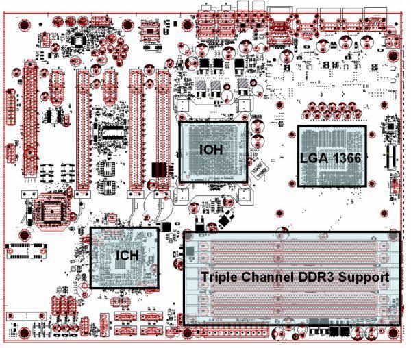 X58 yonga setli anakartlar en az 6 katmanlı PCB kullanacaklar