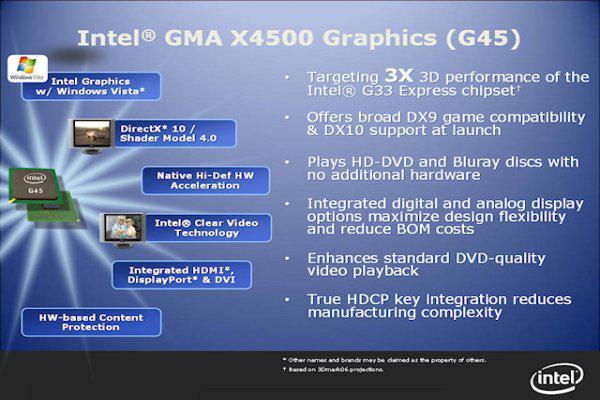 Intel'de DirectX 10 yaygınlaşıyor; 4 serisi G43 ve G45'in detayları