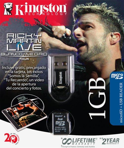 Kingston'dan yeni bir MicroSD kit; 1GB Ricky Martin Black Edition