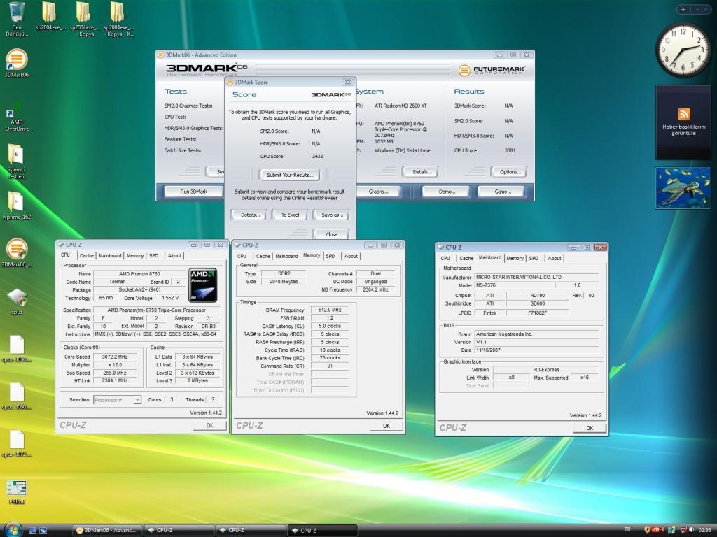 3GHz'de çalışan AMD Phenom X3 8750 rakiplerine meydan okuyor