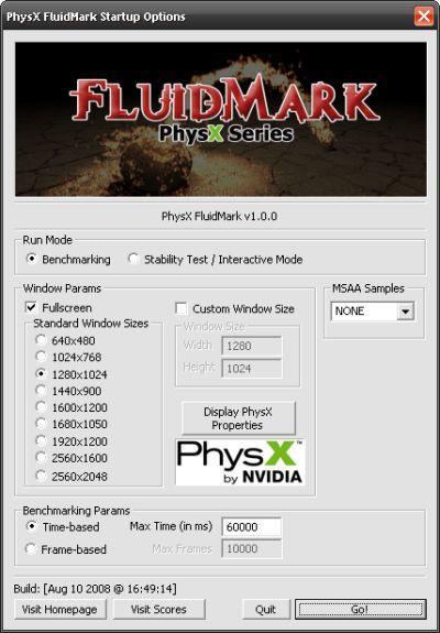PhysX için test uygulaması; FluidMark v1.0