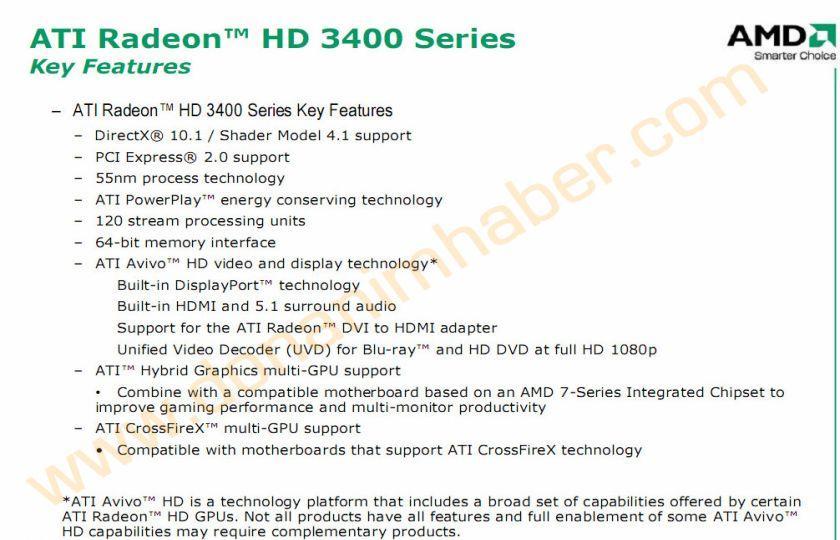ATi HD 3400 serisi (R620) hakkında resmi bilgi ve detaylar