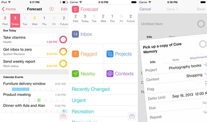 Görev yönetim ve planlama uygulaması OmniFocus 2, evernsel yapıldı