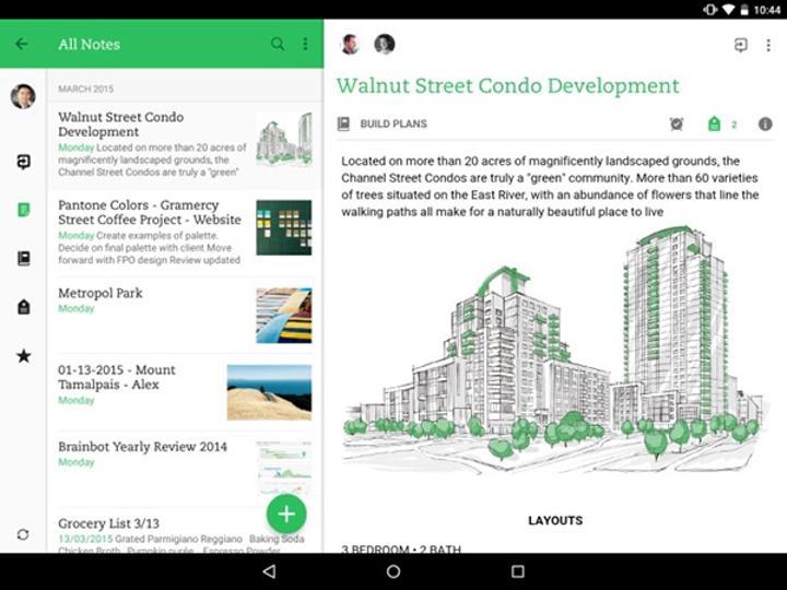 Evernote, Android tarafına gelen yeni güncellemesiyle tablet odaklı geliştirmeler aldı