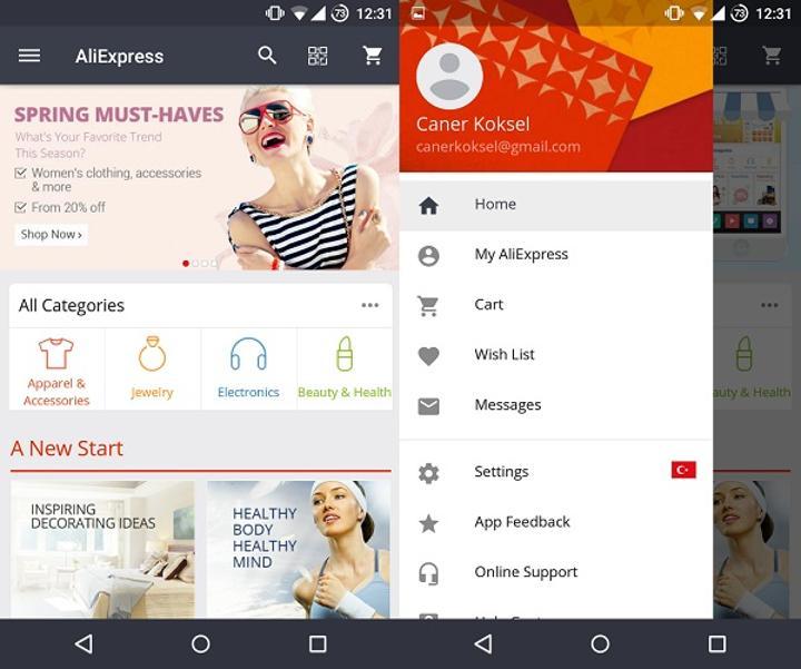 AliExpress Android uygulaması Materyal tasarım anlayışına uygun olarak güncellendi