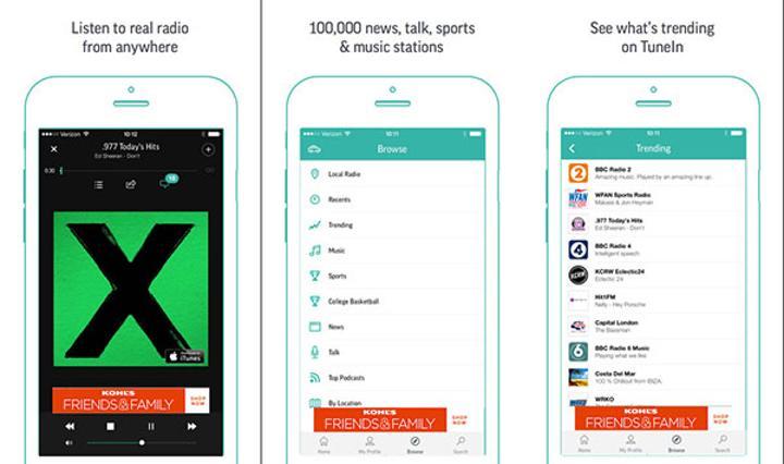 TuneIn Radio iOS tarafında güncellendi