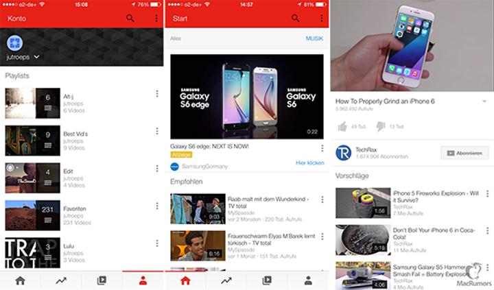 YouTube'un yenilenen iOS tasarımı bazı kullanıcılarda görünmeye başladı