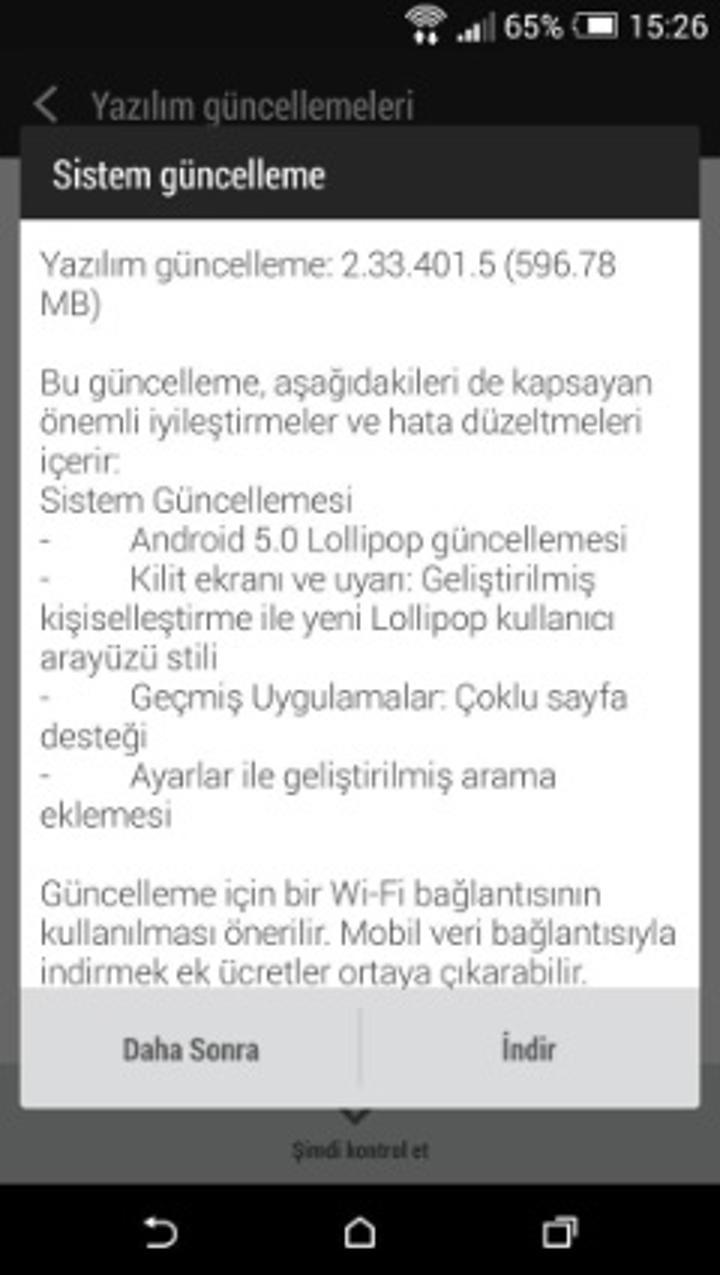 HTC One E8 modeli için Lollipop güncellemesi ülkemizde de başladı