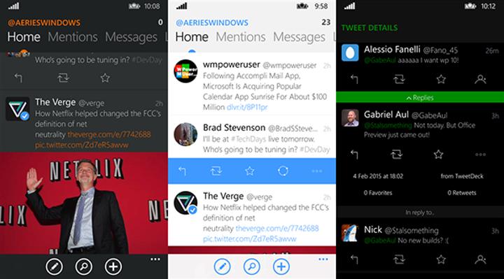 WP 8.1 uyumlu Twitter istemcisi Aeries büyük bir güncelleme aldı
