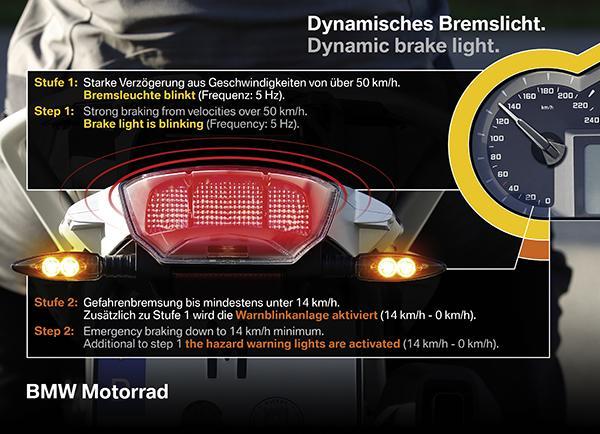 BMW'nin yeni dinamik fren lambası, motosiklet sürücülerini arka çarpmalardan korumayı hedefliyor