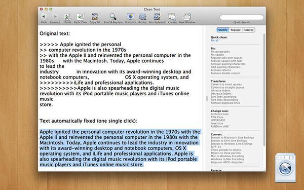 Mac uyumlu Clean Text uygulaması indirime girdi