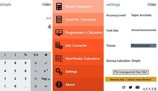 Windows Phone için yeni hesaplama uygulaması: 10Calc