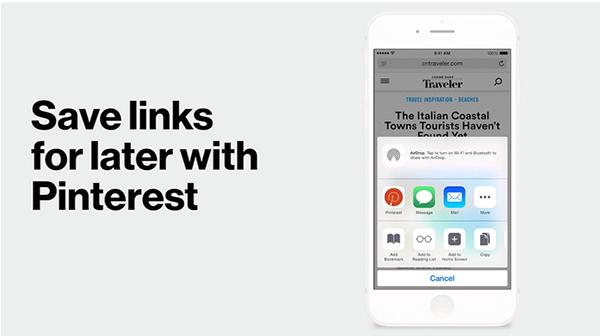 Pinterest'in iOS uygulamasında bağlantıları kaydetmek kolaylaşıyor