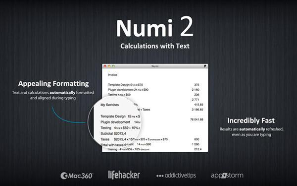 Mac uyumlu hesaplama uygulaması Numi 2, ücretsiz yapıldı