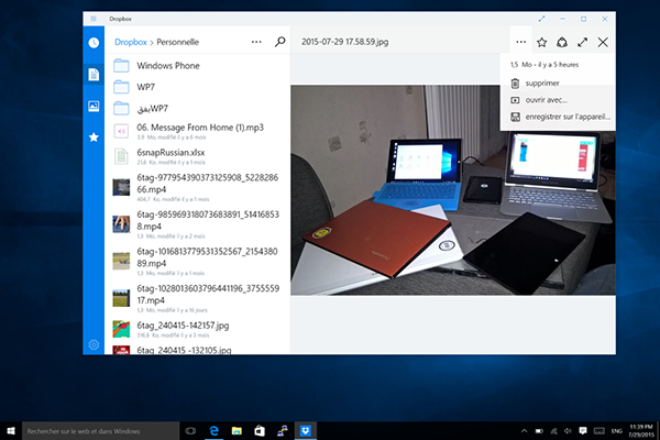 Dropbox, Windows 10'a adapte edildi
