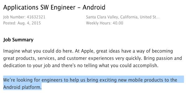 Apple ilgi çekici Android uygulamalar hazırlıyor