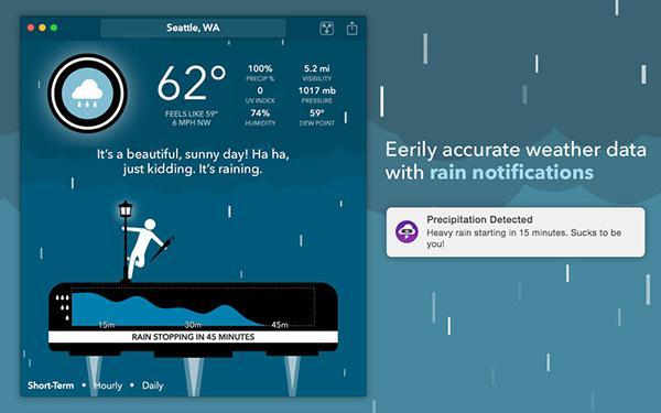 Konuşabilen hava durumu uygulaması CARROT Weather, Mac platformunda