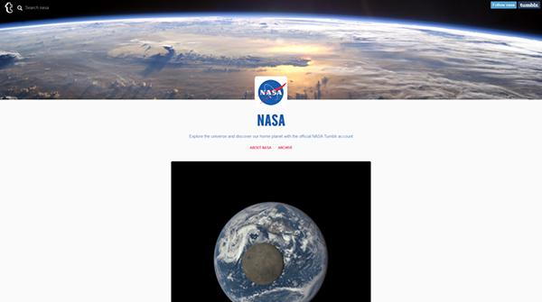 NASA, sosyal medya ağlarına Tumblr'ı da ekledi