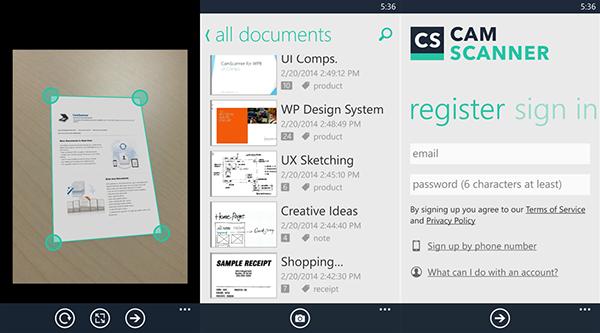 Windows Phone uyumlu doküman tarama uygulaması CamScanner güncellendi