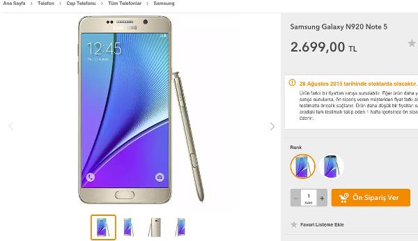 Samsung Galaxy Note 5 ve Galaxy S6 Edge+ fiyatları belli oldu