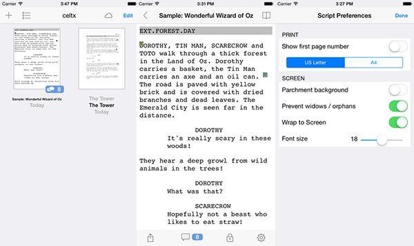 Senaryo yazımına özel iOS uygulaması Celtx script artık ücretsiz