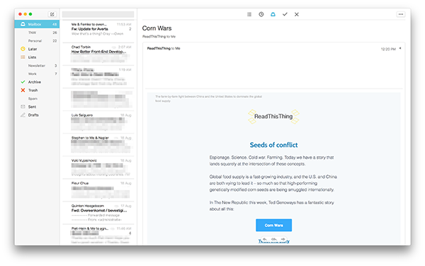 Mac için Mailbox güncellendi, hem iyi hem de kötü haberler geldi