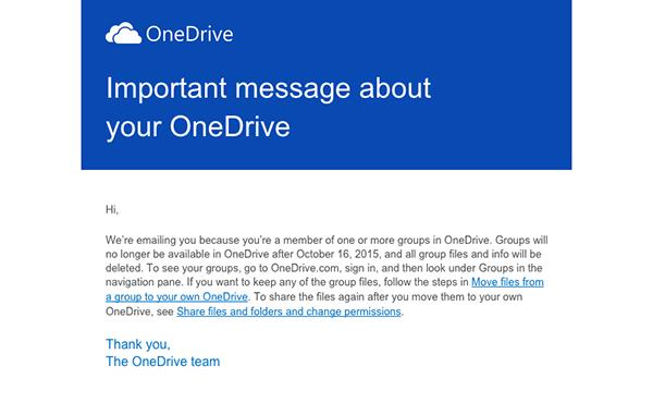 OneDrive'ın gruplar özelliği kapanıyor