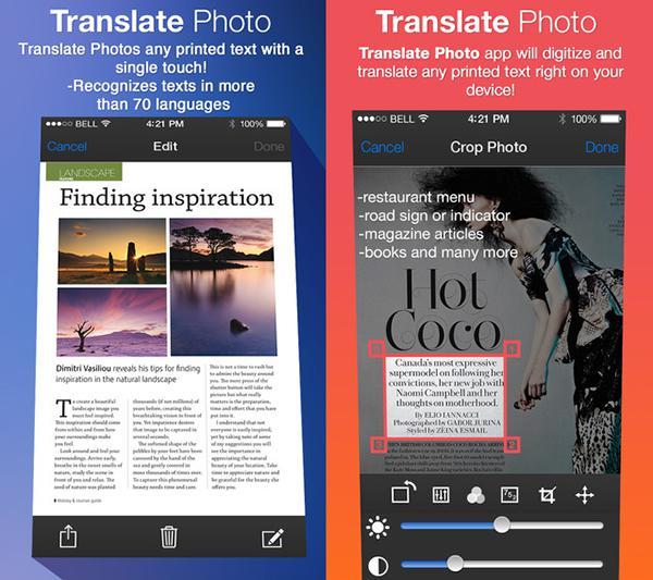 iOS uyumlu Translate Photo artık ücretsiz