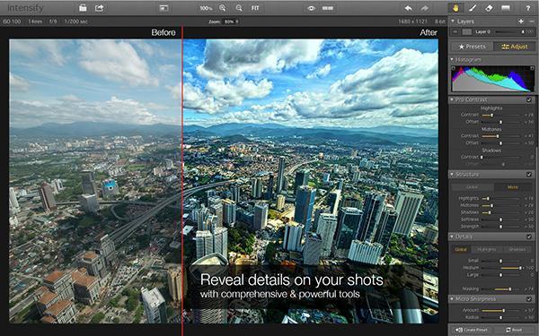 Mac uyumlu profesyonel fotoğraf düzenleme uygulaması Intensify indirime girdi