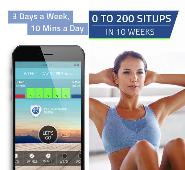 Egzersiz odaklı iOS uygulaması Situps ücretsiz yapıldı