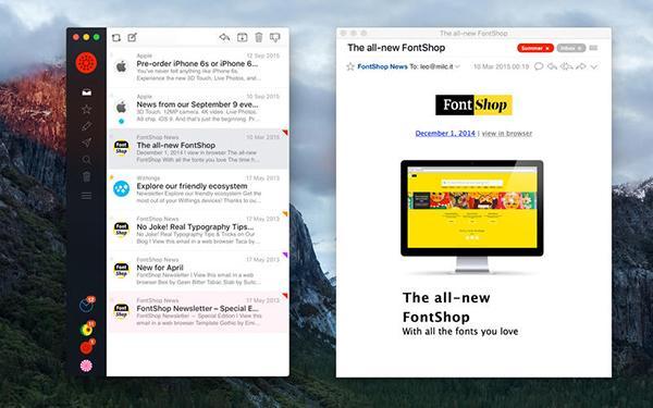 E-posta uygulamasu Airmail'e OSX El Capitan desteği
