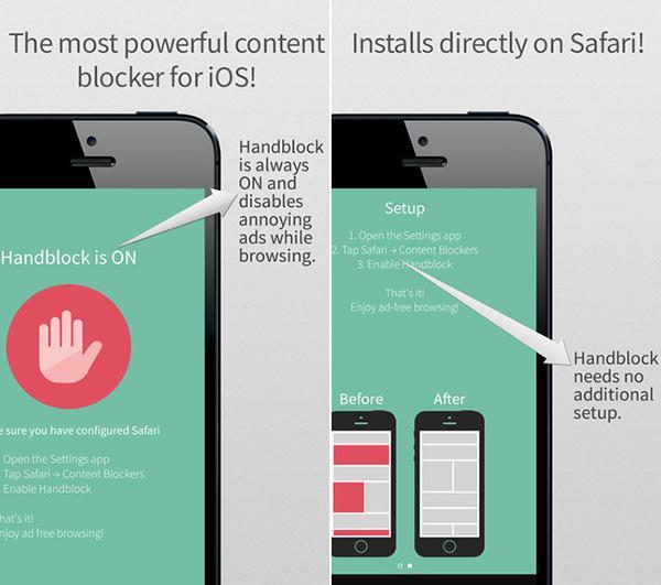 iOS 9 cihazlar için yeni reklam engelleme uygulaması: Handblock