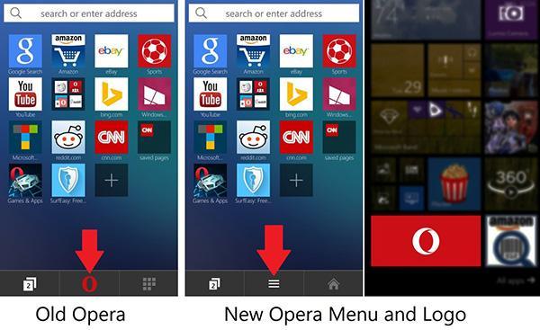 Opera'nın yeni logosu Windows Phone sürümüne de geldi