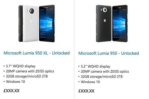 Microsoft, Lumia 950 ve 950 XL'i