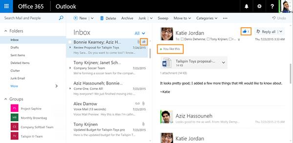 Outlook'un Web srümüne beğenme ve bahsetme özellikleri geldi