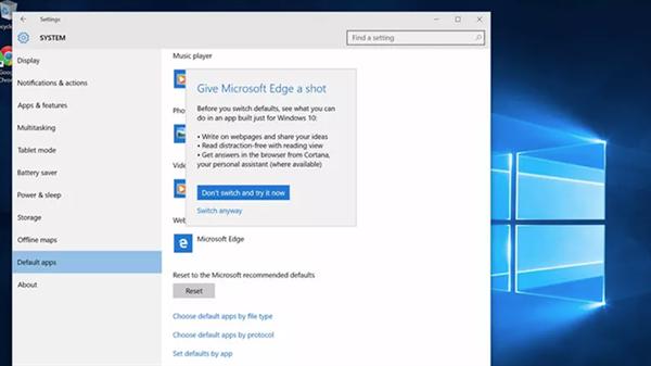 Windows 10, Edge tarayıcısını kullandırmakta ısrarcı