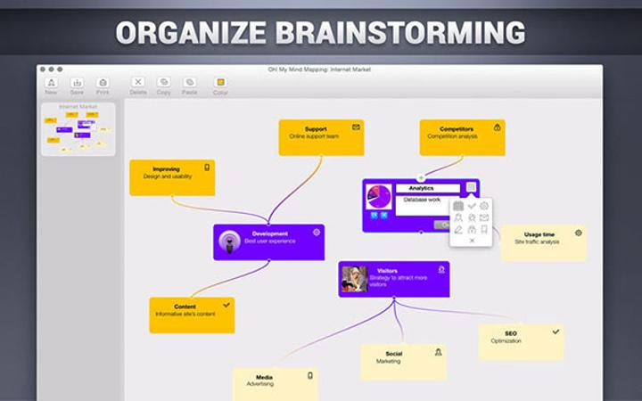 Fikir haritaları için yeni Mac uygulaması: Oh! My Mind Mapping
