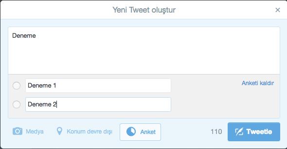 Twitter'ın anket desteği ülkemizde de kullanımına açıldı