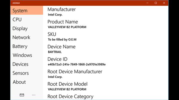 AIDA64 artık evrensel Windows 10 uygulaması