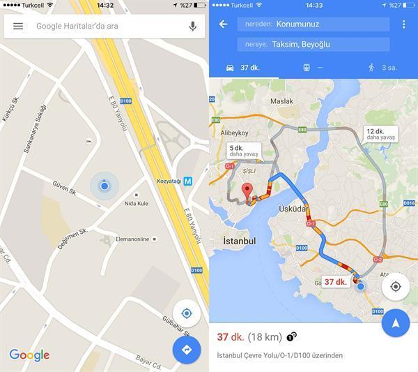 Google Maps'ten iOS kullanıcılarına güzel haber