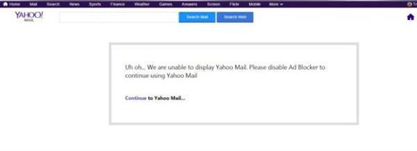 Yahoo, reklam engelleyici yazılım kullananlara karşı önlem almaya başladı