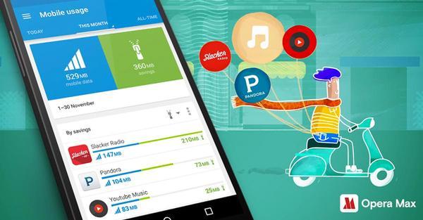 Opera Max çevrimiçi müzik dinlerken de veri tasarrufu yapacak
