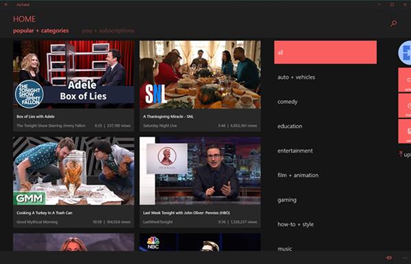 Alternatif YouTube istemcisi myTube, Windows 10 için evrensel yapıldı