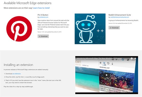 Microsoft Edge'in ilk eklentileri sızdı