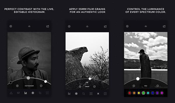 Güçlü siyah beyaz fotoğraf editörü: Camera Noir