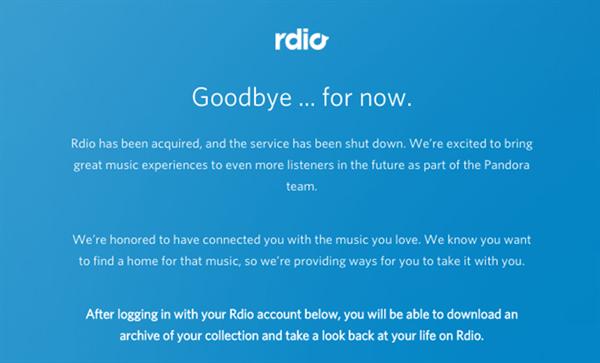 Müzik servisi Rdio kapandı