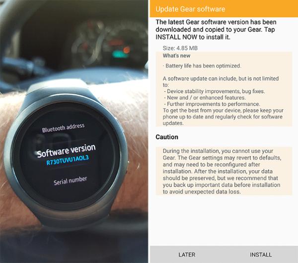 Samsung Gear S2'ye batarya iyileştirmesi